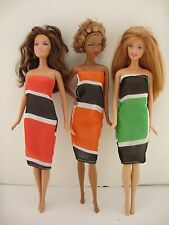 Set of 3 Amazing Dresses in Bright Colors and Patterns Made to Fit Barbie Doll