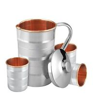 Set of 4 Water Glasses and a Jug Set, Indian Copper Pitcher Drinkware Set + Ship