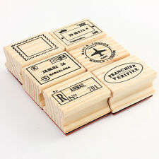 6pcs Korean Vintage Travel Wooden Rubber Stamp Scrapbooking Diary postmark DIY