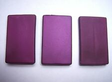3 purple 40mm rubber rubberised rectangle satin beads focal point