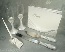 Guest book,Toasting flutes, Cake set and Pen set Drape bling design Wedding Set