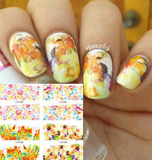 4 Patterns Colorful Flower Butterfly Nail Art Water Decals Transfers Stickers