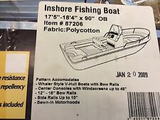 """TAYLOR MADE INSHORE FISHING BOAT COVER 17'5'-18'4'L--90""""BEAM-OUTBOARD,GRAYPOLY"""