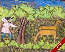 ARCHER HUNTING DEER IN THE FOREST 1400'S ERA PAINTING ART REAL CANVAS PRINT