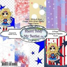 "NEW My-Besties SCRAPBOOK PAPER PACK SET 6 X 6"" free us ship RED WHITE BLUE JULY4"