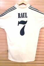 Retro Raul 7 Real Madrid ADIDAS FC Shirt/Jersey 2001/02 White Home Kit ADULT L