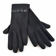 Ladies women girls Polyester Gloves with Bow - Black One size