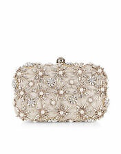 ACCESSORIZE Asha Beige Nude Hardcase Embellished Clutch Bag/Chain BNWT