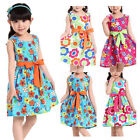 Summer Chic Girls Kids Princess Wedding Party Flower Bow Gown Tutu Dress 3-9Year