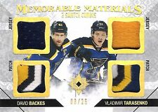 David Backes Vladimir Tarasenko 2014-15 Ultimate Dual Jersey 4-Color Patch 3/25