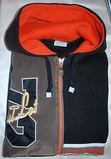 SOUL LOT JEANS INC. Graffic Faux Suede ZipUp Hoodie, Black Orange White ~ 3XL