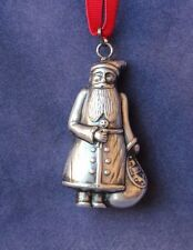 Old World Santa Pendant or Christmas Tree Ornament - Sterling Silver, Windsor