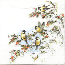 6 Small Single Paper Table Napkins for Decoupage Sophy's Birds Winter 25X25cm
