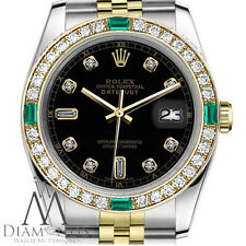 Rolex 36mm Datejust 2 Tone Black Color Dial with 8+2 Emerald Diamond Accent