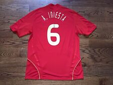 Men's XL adidas 2008-09 Spain Espana Andres Iniesta #6 Home Soccer Jersey