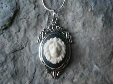 LION CAMEO NECKLACE!! .925 SILV. PLATED CHAIN!!! LION HEAD, FELINE, CAT, BIG CAT