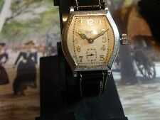 1930 ELGIN 4/0s NOUVEAU CASE MAN`S WATCH.....RARE ANTIQUE ART DECO ETCHED CASE