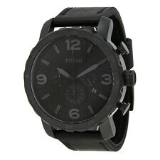 Fossil Men's JR1354 Nate Chronograph Black Dial Black Leather Watch Watch