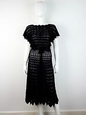 PRADA Black Crocheted Scoop Back Belted Dress IT40/US6 ~NWT~
