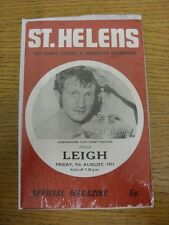 07/08/1971 Rugby League Programme: St Helens v Leigh [Lancashire Cup] . Item app