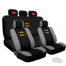 Deluxe Batman Seat Covers & Classic POW Headrest Cover Set For Jeep