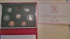 1987 United Kingdom Proof Set, GEM 7 Coins Total, With Case and COA