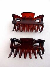 Brown hair clips claws set of two plastic 2.25 inch wide