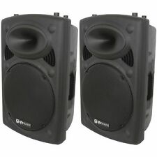 "2 x QTX QR15K 15"" 800W Active Portable Speaker Pair DJ Disco Sound System PA"