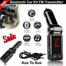 Kit de coche Bluetooth Transmisor Fm Manos Libres Mp3 Usb Cargador Para Iphone Android Reino Unido