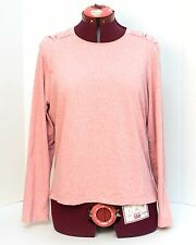 Liz Claiborne Women's Knit Top Shirt Sz Large Long Sleeve Pink Ruched Shoulders
