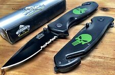 MASTER SPRING ASSISTED POCKET KNIFE W/ SEAT BELT CUTTER GREEN PUNISHER LOGO -