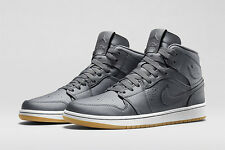 NIB MENS NIKE JORDAN 1 MID NOUVEAU RETRO SILVER GREY BASKETBALL SHOES Sz 10