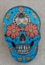 Sugar Skull Day of The Dead Blue Brooch or Scarf Pin Handmade Jewelry Acrylic