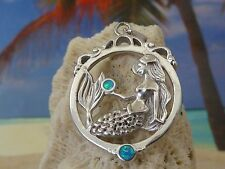 AMAZING STERLING SILVER MERMAID SITTING IN CIRCLE PENDANT WITH OPAL