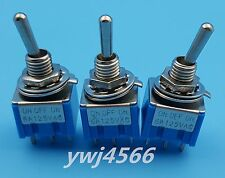 10Pcs Blue MTS-203 6-Pin 6MM Mini SPDT ON-OFF-ON 6A 125VAC Toggle Switches