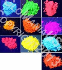 10 Color Set Mini Sampler Neon Pigment Powder, Black Light UV Reactive,