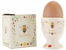 Bee Happy Design Ceramic Egg Cup - Novelty Egg Cup