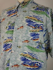 Vintage Mens Floral And Fish Design Hawaiian Shirt Size XL