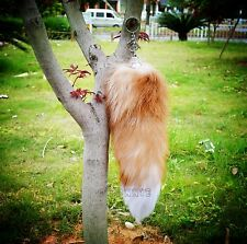 Large Luxury Golden Natural Genuine Fox Tail Keychain Fur Tassel Bag Tag Charm