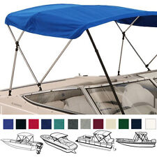 "BIMINI TOP BOAT COVER BLUE 3 BOW 72""L 54""H 73""-78""W - W/ BOOT & REAR POLES"