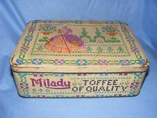 Vintage Old Advertising Tin Milady Toffee Tin Cross Stitch Tin