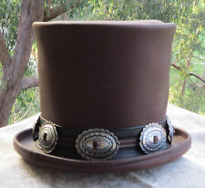BROWN LEATHER GUNS N' ROSES DELUXE  SLASH STYLE TOP HAT / MEN'S STOVEPIPE HAT