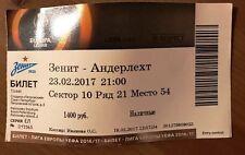 ZENIT St Petersburg Russia ANDERLECHT Brussels Belgium 2017 ticket UNUSED RARE!
