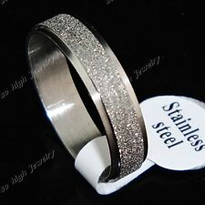 New Stainless Steel Frost Women Men Silver Wedding Rings Band Size 6.5