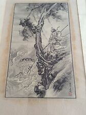 Antique Old Korean Chinese Dragon Fishermen Watercolour Painting Scroll Framed