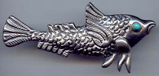 GREAT DETAILED VINTAGE 1940S MEXICO SILVER BLUE CABOCHON EYE FISH PIN