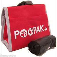 Dog PooPak Waste Sacks Bag Walks Dog Park Hike Puppy Pack Carry Case Leash Loop