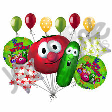 11 pc Happy Birthday Veggietales Balloon Bouquet Cartoon Larry Bob Veggie Tales