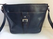 Authentic ETIENNE AIGNER Dark Blue Leather Shoulder Handbag Purse
