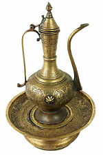 Antique islamic Engraved Brass Ewer Pitcher & Basin set from Afghanistan No:16/E